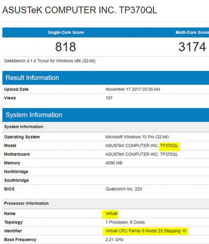 Asus TP370QL:  Le nom de code du PC ARM Windows 10 d'Asus