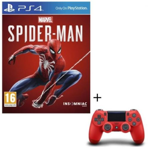 Pack Marvel's Spider-Man + Manette PS4 DualShock 4 Rouge à 59 euros
